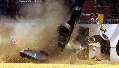 Martin Brundle in a crash at the 1996 Australian Grand Prix
