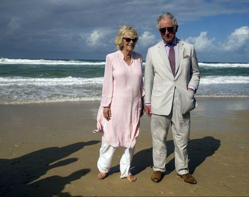 Prince Charles and Camilla at Broadbeach. (AAP)