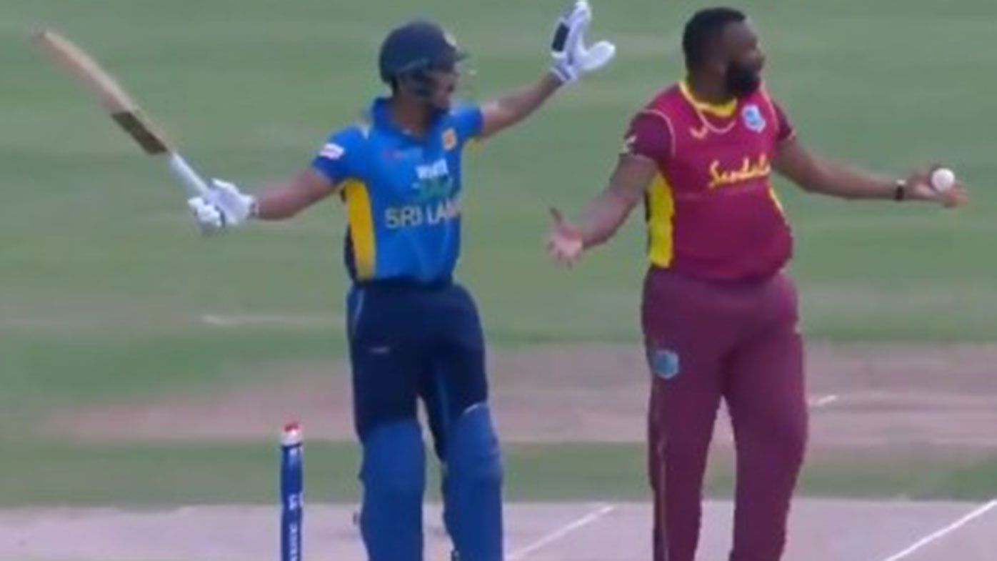 One-day international turns ugly after Sri Lankan batsman given out for obstructing the field