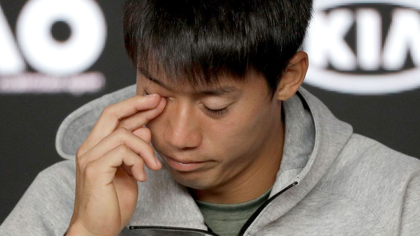Australian Open: Emotional Kei Nishikori fights back tears after retiring injured in quarterfinal blockbuster against Novak Djokovic