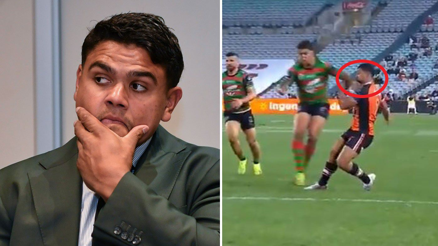Latrell Mitchell was suspended for four weeks for this shot on Wests Tigers winger David Nofoaluma.