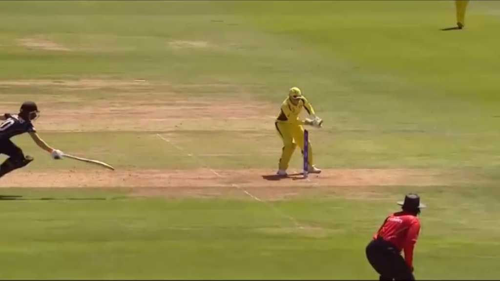 New Zealand's Katie Perkins is run out by Megan Schutt