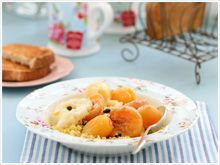 Sweet couscous with stewed fruit