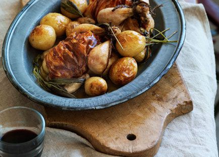 Roast spatchcocks with potatoes