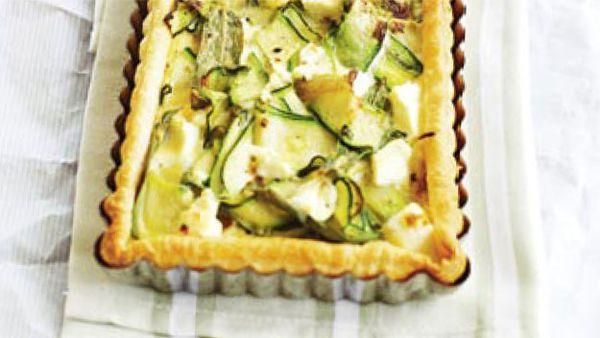 Zucchini, fetta & mint tart
