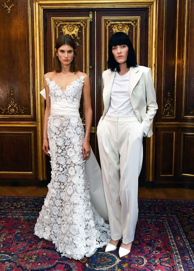 """<p>Attention prospective contestants for the next season of <a href=""""http://style.nine.com.au/2017/01/25/14/44/married-at-first-sight-wedding-gowns-dresses-style-bride"""" target=""""_blank""""><em>Married At First Sight</em></a>. The wedding suit has usually been reserved for grooms but at New York Bridal Fashion Week we spotted an increase in the number of white trousers and jumpsuits for brides who don't dig dresses.</p> <p>From slouchy styles at Oscar de la Renta, to sleek '60s chic at Viktor and Rolf, here are the perfect choices for the bride who insists on wearing the pants.</p>"""