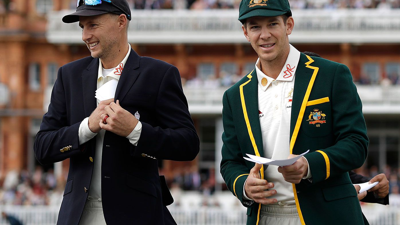 England captain Joe Root with his Australian counterpart Tim Paine.