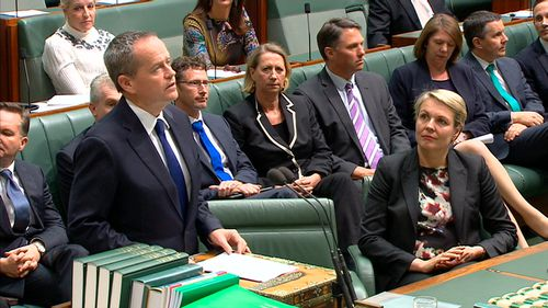 Bill Shorten with Labor MPs in parliament.