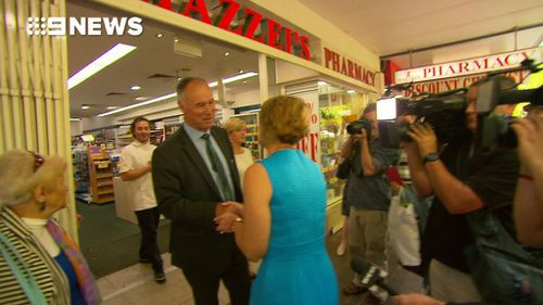 Mrs Keneally cornered Mr Alexander outside a pharmacy in Eastwood, in Sydney's north (9NEWS)
