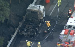 Truck fire shuts down M1 motorway southbound on NSW's Central Coast