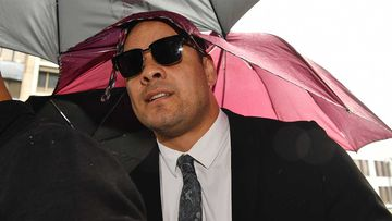 Jarryd Hayne goes into Newcastle Local Court for his sentencing hearing.