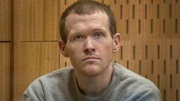 Christchurch mosque gunman Brenton Tarrant is seen during his sentencing hearing at Christchurch High Court