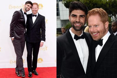 <i>Modern Family</i>'s Jesse Tyler brought tall, dark and handsome arm candy along for the ride: husband Justin Mikita! We love that they went for something different with the suits.