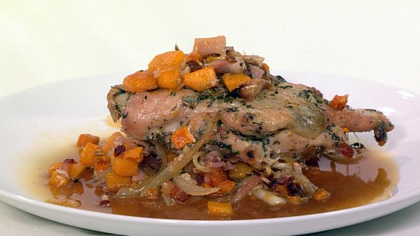 Maple roasted chicken breast with provençal herbs on pumpkin & onions