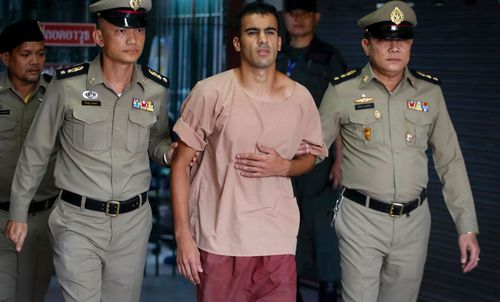 """The footballer was arrested in Thailand on November 27 while on holiday and on Monday was shown arriving at court in leg restraints, shouting: """"Don't send me to Bahrain""""."""