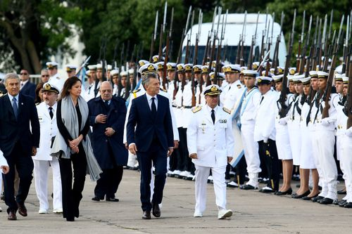 Argentinian President Mauricio Macri attends a tribute a year after the disappearance of the San Juan on Friday.