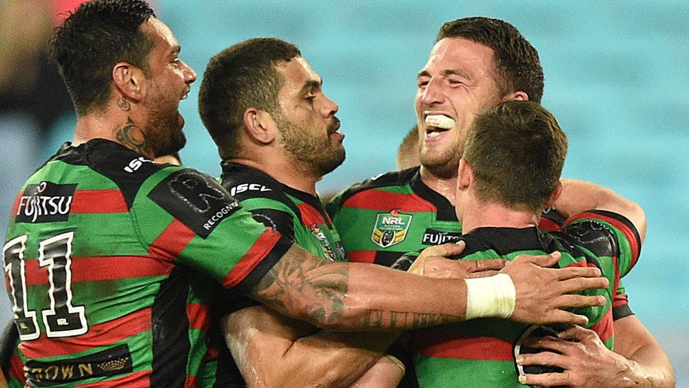 Sam Burgess and the Rabbitohs had plenty to smile about. (AAP)