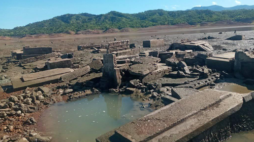 Ancient sunken Philippines town reappears after drought
