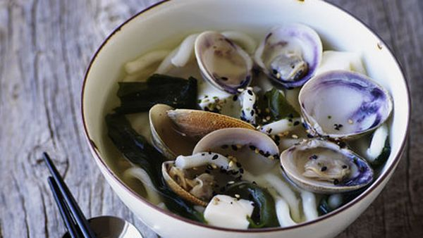 Miso clams with udon