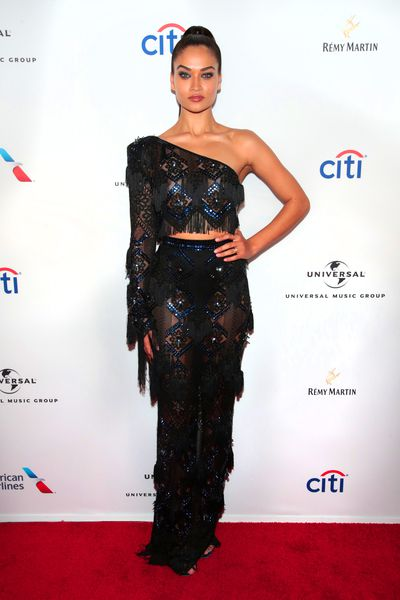 Shanina Shaik in Raisa & Vanessa Couture at Universal Music's Grammy Awards After-Party in NYC