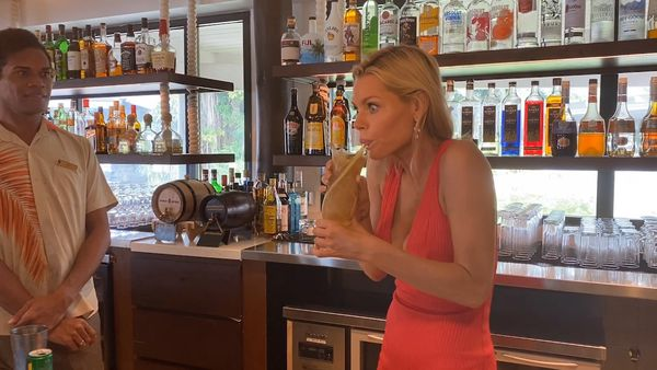 Sophie Monk takes time out of Love Island shooting for cocktails