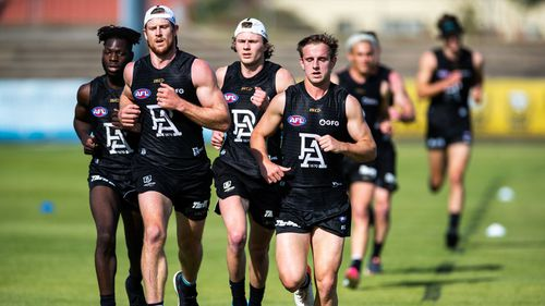 Port Adelaide players training.