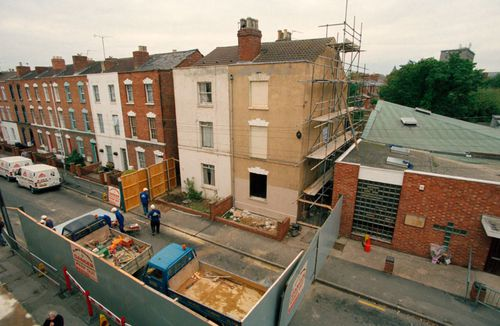 The home of serial killer Fred West before it was demolished after his 1995 death while on remand.