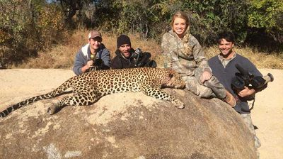 Kendall Jones poses with a dead leopard. (Facebook)