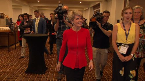 Ms Bishop was speaking at an event when she met the Canberra student.