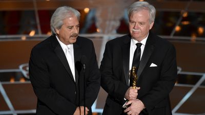<b>Best Sound Editing:</b><br><br>Alan Robert Murray and Bob Asman accept the Oscar for their part in 'American Sniper'. (AAP)