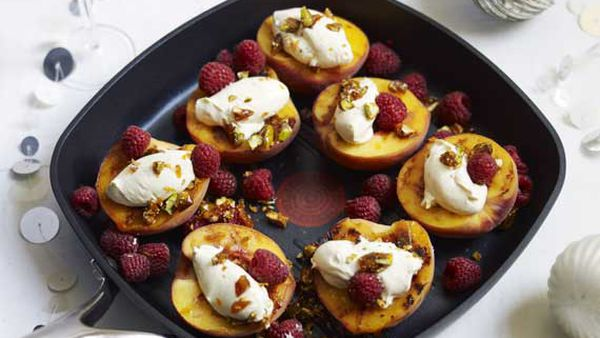 Guillaume Brahimi's grilled yellow peaches with raspberries and pistachios