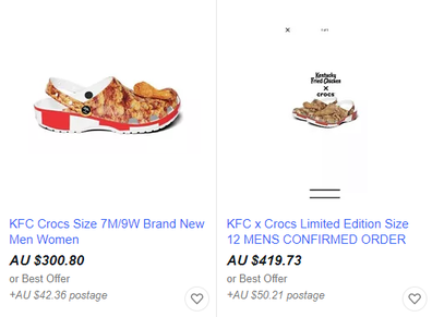 eBay KFC Crocs for sale