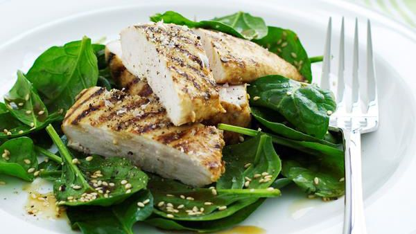 Grilled chicken with sesame spinach salad