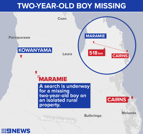 A search is underway after a two-year-old boy wandered off from a rural homestead in Maramie,