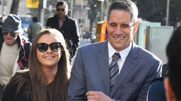 Sarah Rodgers arrives with partner, Roman Quaedvlieg, at the Downing Centre Courts, Sydney.