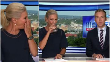 News reader Jo Hall calls in backup during on-air cough attack