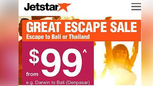 Jetstar's 'Great Escape Sale'has caused a stir on social media. (Twitter)
