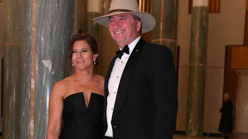 Deputy Prime Minister Barnaby Joyce with wife Natalie in June this year.