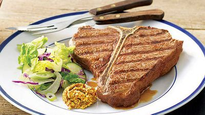 <strong>Chargrilled T-bone steak with seeded mustard</strong>