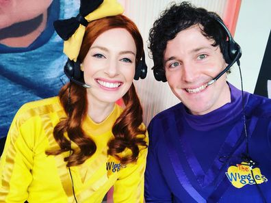Emma Wiggle aka Yellow Wiggle, Lachlan Gillespie aka Lachy the Purple Wiggle