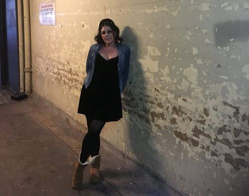 Catherall outside a stage door prior to a Human League Show in Sydney. (Twitter/@Lubycat)