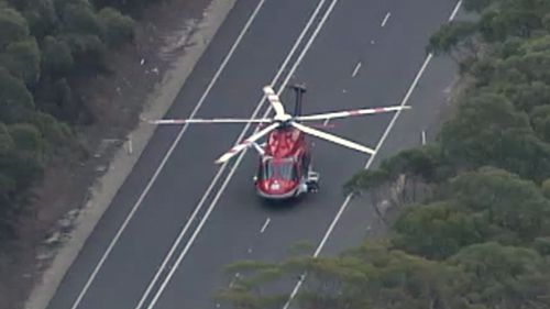 A rescue helicopter has transported a patient to hospital. (9NEWS)