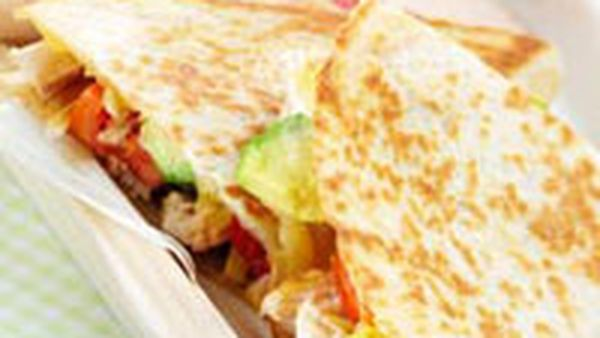 Chicken quesadillas with tomato and avocado