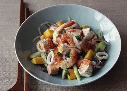 Mexican poached seafood salad