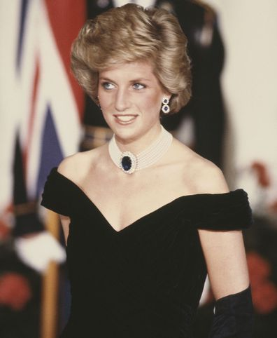 Princess Diana at the 1985 White House State Dinner.