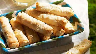 "<strong><a href=""http://kitchen.nine.com.au/2016/05/16/12/31/crisp-fetta-lemon-parsley-filo-rolls-with-yoghurt-dill-dip"" target=""_top"">Crisp fetta, lemon & parsley filo rolls with yogurt & dill dip</a> recipe</strong>"
