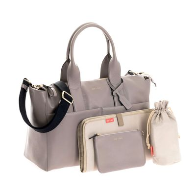 "<a href=""https://www.alexandalexa.com/jem-bea-grey-tumbled-calf-leather-jemima-changing-bag/p/136057"" target=""_blank"">Jem + Bea&nbsp;Grey Tumbled Calf Leather Jemima Changing Bag, $350.</a>"
