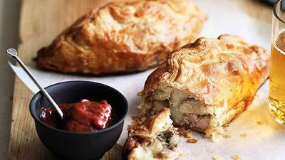 "Pork, potato and rosemary pasties with rhubarb chutney - <a href=""http://kitchen.nine.com.au/2016/05/16/16/07/pork-potato-and-rosemary-pasties-with-rhubarb-chutney"" target=""_top"">view recipe</a>"