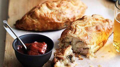 "Pork, potato and rosemary pasties with rhubarb chutney - <a href=""http://kitchen.nine.com.au/2016/05/16/16/07/pork-potato-and-rosemary-pasties-with-rhubarb-chutney"" target=""_top"">view recipe</a>"