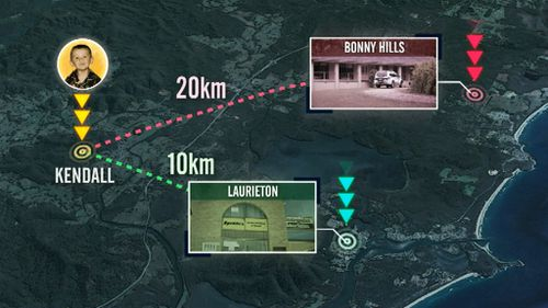 A map showing the distance between the properties searched at Bonny Hills and Laurieton, and where William Tyrell vanished at Kendall. (9NEWS)